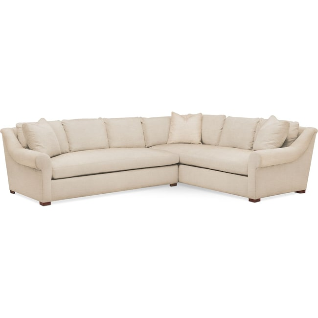 Living Room Furniture - Asher 2 Pc. Sectional with Left Arm Facing Sofa- Comfort in Victory Ivory