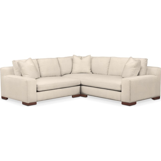Living Room Furniture - Ethan Comfort 2-Piece Small Sectional with Left-Facing Loveseat - Curious Pearl