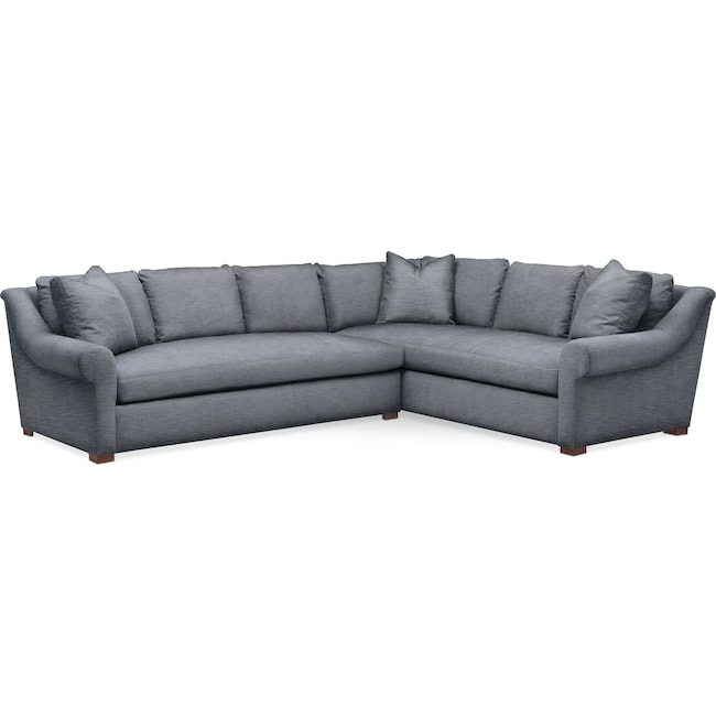 Living Room Furniture - Asher 2 Pc. Sectional with Left Arm Facing Sofa- Cumulus in Dudley Indigo
