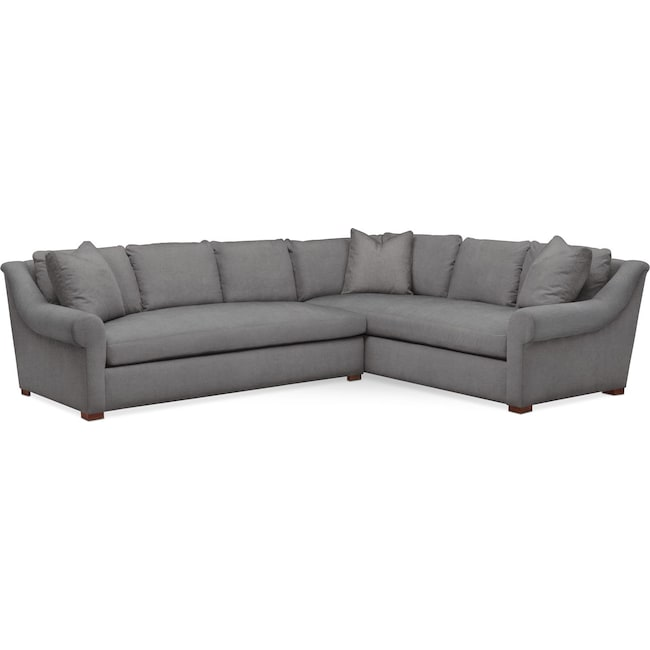 Living Room Furniture - Asher 2-Piece Sectional with Left-Facing Sofa - Comfort in Hugo Graphite