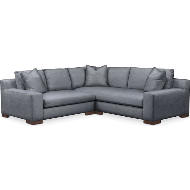 Living Room Furniture - Ethan Comfort 2-Piece Small Sectional with Left-Facing Loveseat - Dudley Indigo