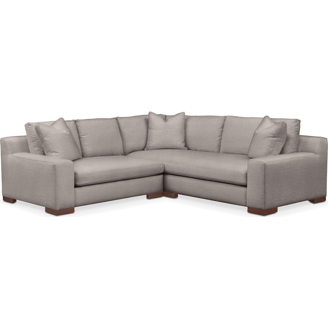 Living Room Furniture - Ethan Comfort 2-Piece Small Sectional with Left-Facing Loveseat - Curious Silver Pine