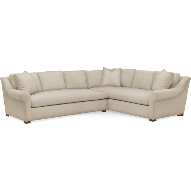 Living Room Furniture - Asher 2 Pc. Sectional with Left Arm Facing Sofa- Comfort in Depalma Taupe
