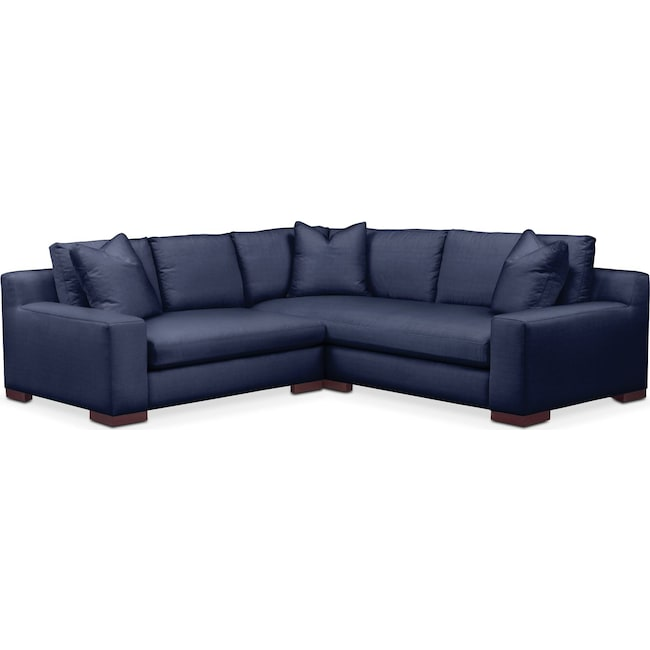 Living Room Furniture - Ethan Comfort 2-Piece Small Sectional with Left-Facing Loveseat - Oakley III Ink