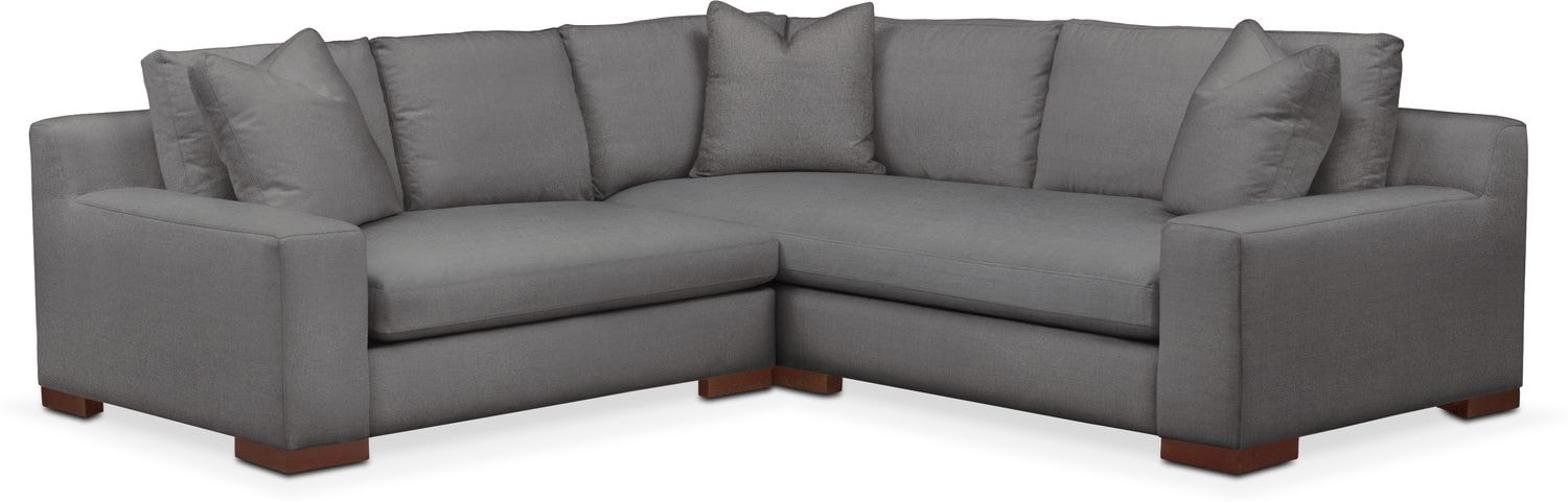 Living Room Furniture - Ethan Cumulus 2-Piece Small Sectional with Left-Facing Loveseat - Hugo Graphite