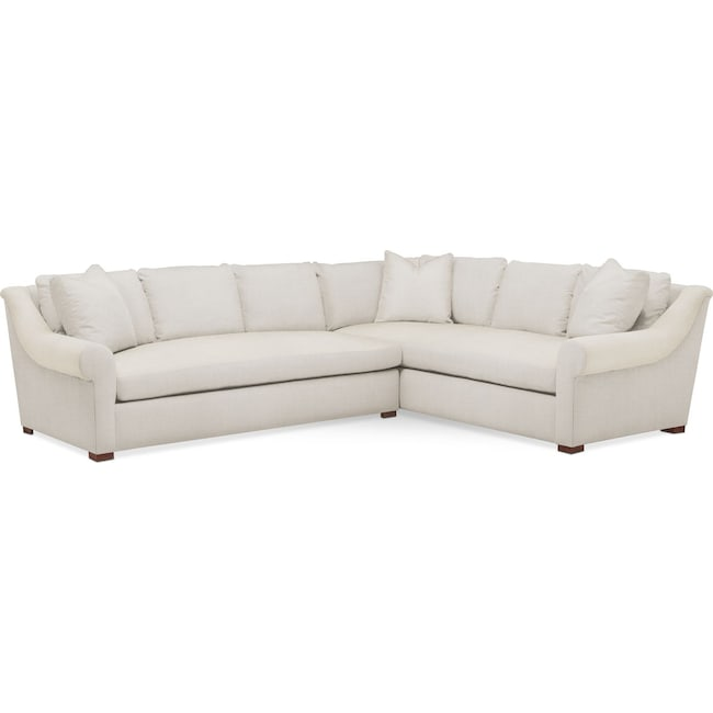 Living Room Furniture - Asher 2 Pc. Sectional with Left Arm Facing Sofa- Cumulus in Anders Ivory
