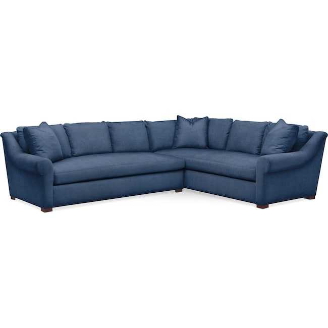 Living Room Furniture - Asher 2 Pc. Sectional with Left Arm Facing Sofa- Cumulus in Hugo Indigo