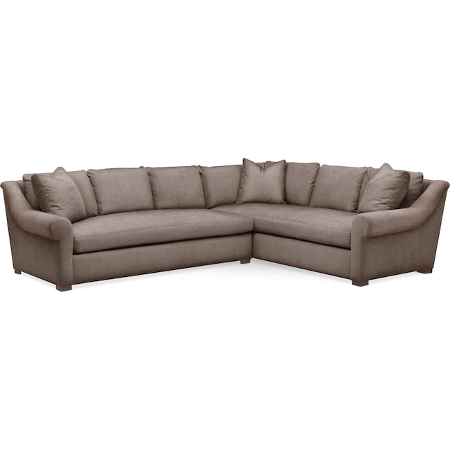 Living Room Furniture - Asher 2 Pc. Sectional with Left Arm Facing Sofa- Comfort in Hugo Mocha