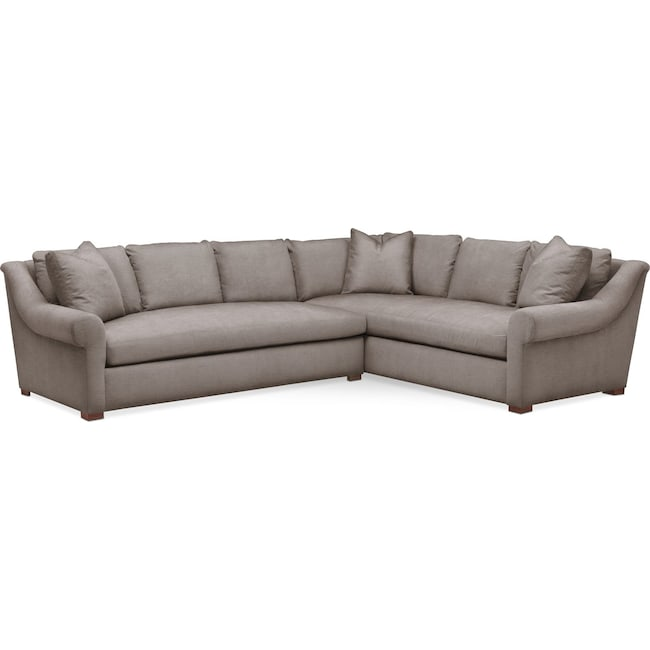 Living Room Furniture - Asher 2 Pc. Sectional with Left Arm Facing Sofa- Comfort in Oakley III Granite