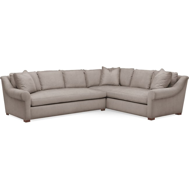 Living Room Furniture - Asher 2 Pc. Sectional with Left Arm Facing Sofa- Cumulus in Abington TW Fog