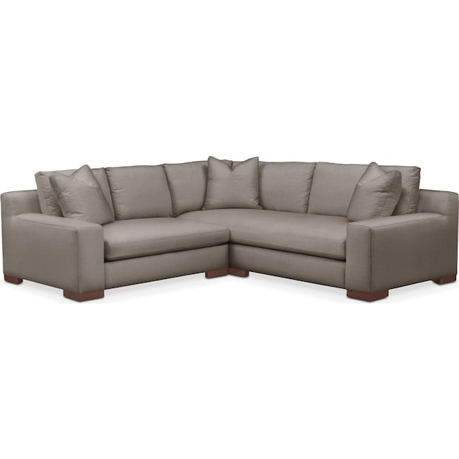 Living Room Furniture - Ethan Comfort 2-Piece Small Sectional with Left-Facing Loveseat - Oakley III Granite