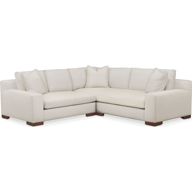 Living Room Furniture - Ethan Comfort 2-Piece Small Sectional with Left-Facing Loveseat - Anders Ivory