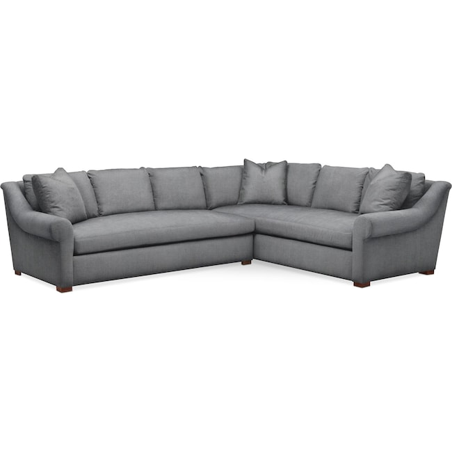 Living Room Furniture - Asher 2 Pc. Sectional with Left Arm Facing Sofa- Comfort in Depalma Charcoal