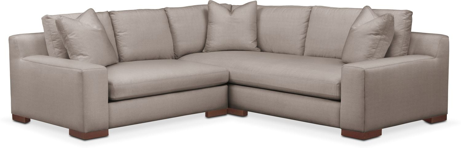 Living Room Furniture - Ethan Comfort 2-Piece Small Sectional with Left-Facing Loveseat - Abington TW Fog