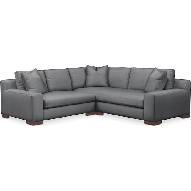 Living Room Furniture - Ethan Cumulus 2-Piece Small Sectional with Left-Facing Loveseat - Depalma Charcoal