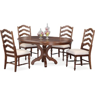 Charleston Round Dining Table and 4 Side Chairs - Tobacco