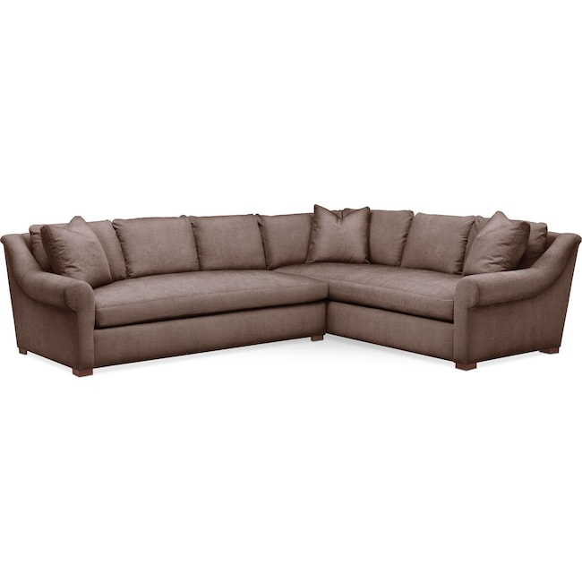 Living Room Furniture - Asher 2 Pc. Sectional with Left Arm Facing Sofa- Cumulus in Oakley III Java