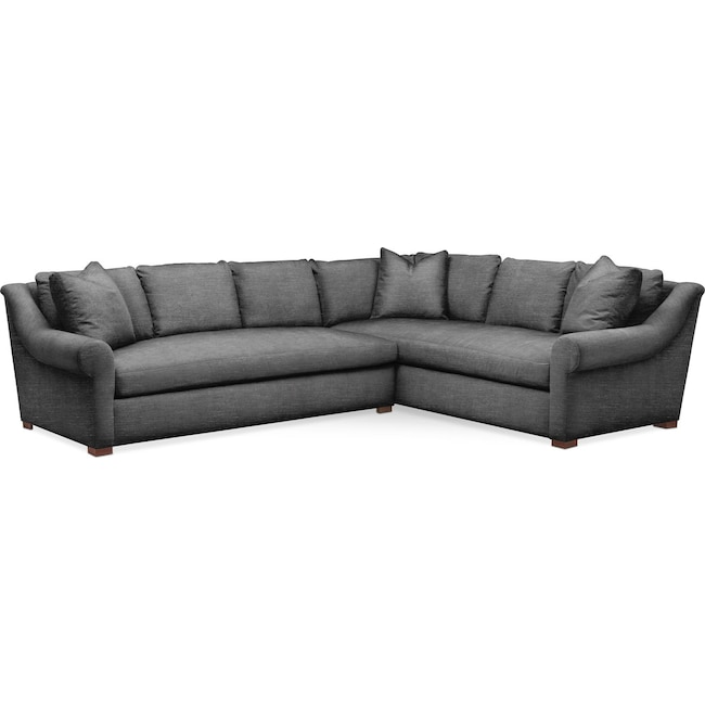 Living Room Furniture - Asher 2 Pc. Sectional with Left Arm Facing Sofa- Cumulus in Curious Charcoal