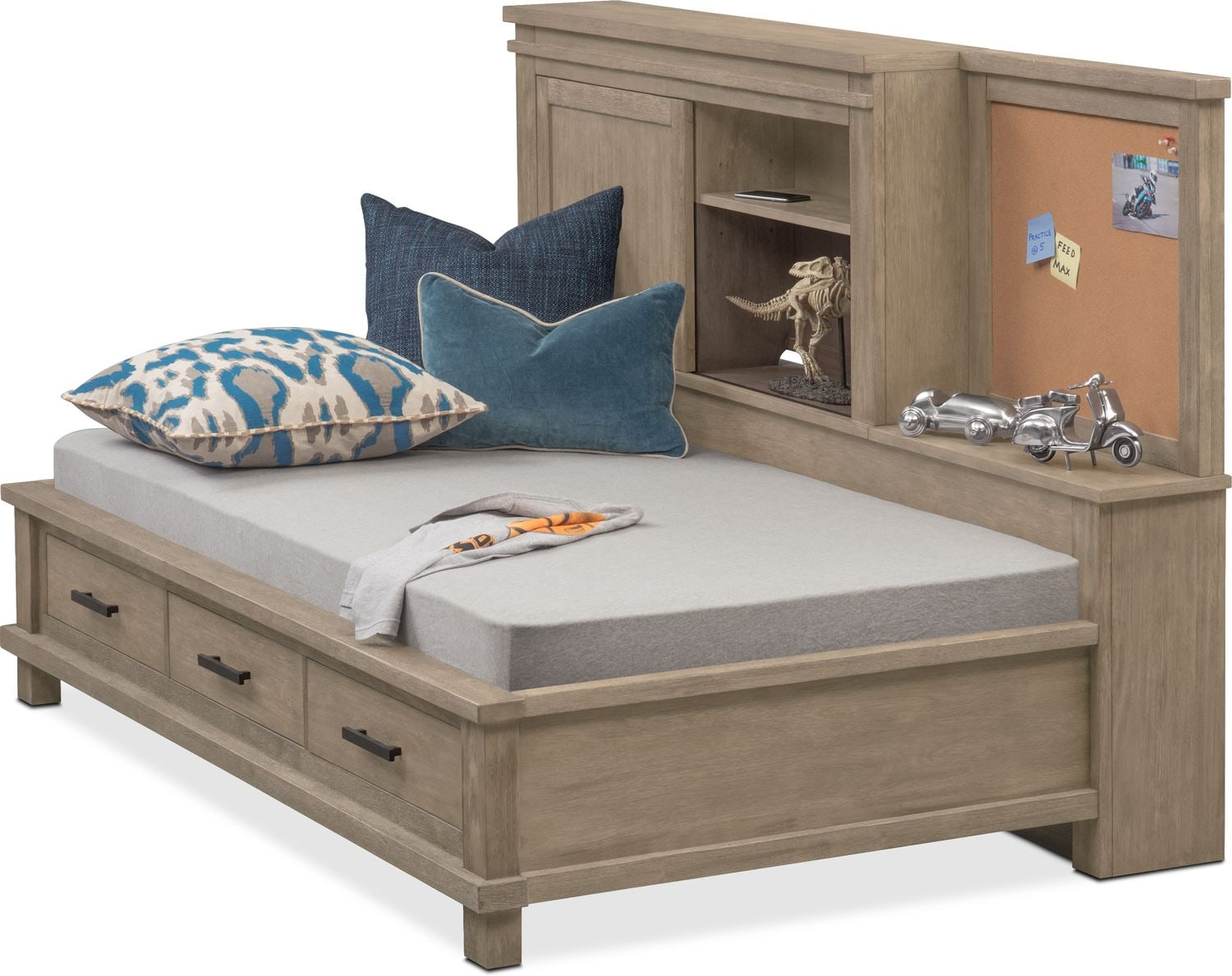 Tribeca youth twin lounge bed with storage gray value city furniture and mattresses for Youth storage bedroom furniture