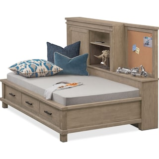 Tribeca Youth Twin Lounge Bed with Storage - Gray