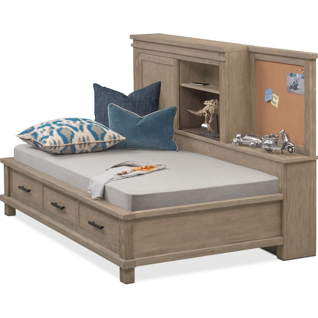 Bedroom Furniture - Tribeca Youth Full Lounge Bed - Gray