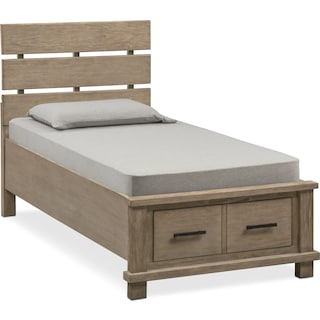 Tribeca Youth Twin Plank Bed with Storage - Gray