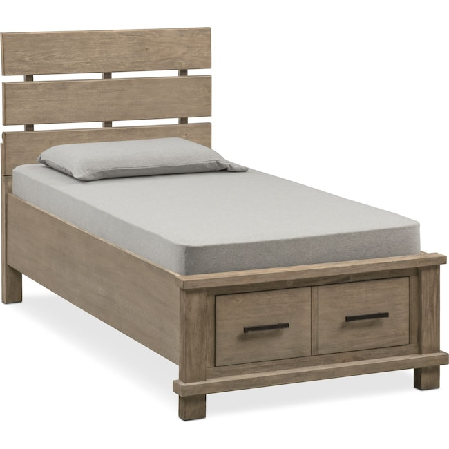 Bedroom Furniture - Tribeca Youth Full Plank Bed with Storage - Gray