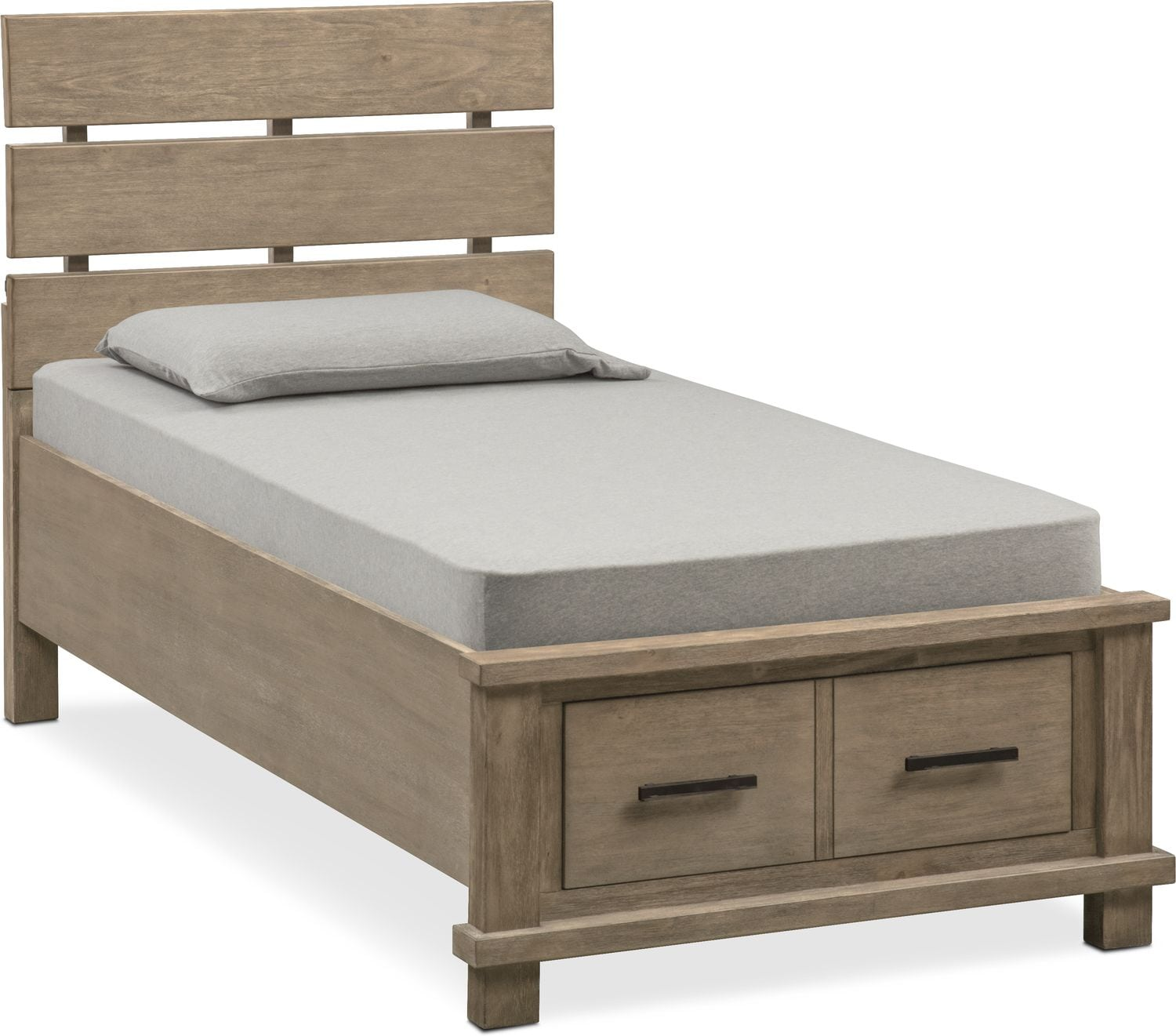 tribeca youth twin plank bed with storage gray