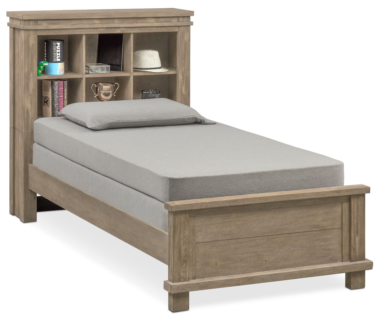 Tribeca Youth Twin Bookcase Bed - Gray | Value City ...