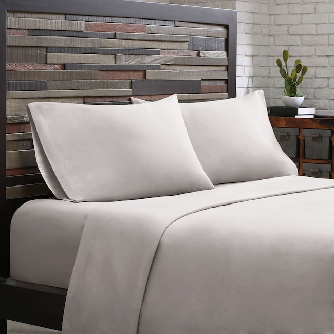 Accent and Occasional Furniture - Queen 300 Thread Count Cotton Sheet Set - Gray