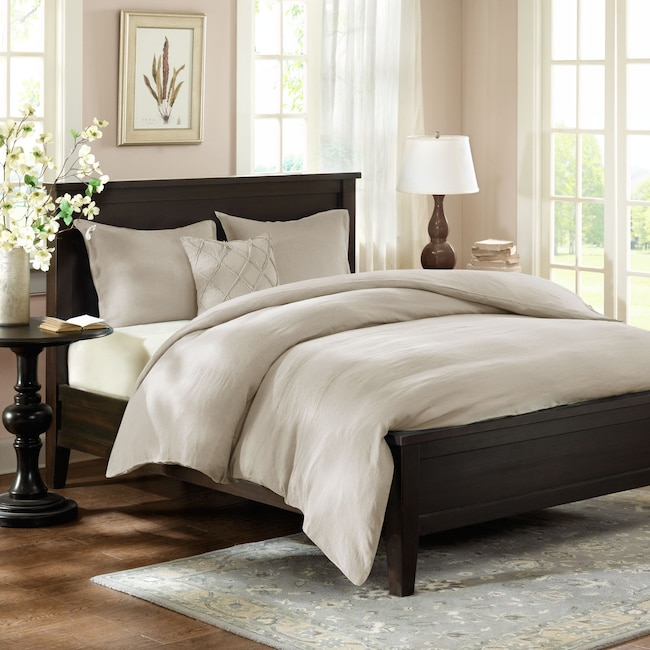 Accent and Occasional Furniture - Harbor Queen Down Alternative Duvet and Sham Set - Beige