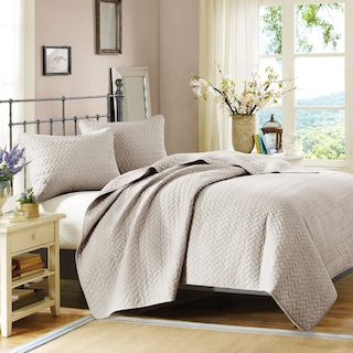 Hampton Hill King Coverlet and Sham Set - Beige