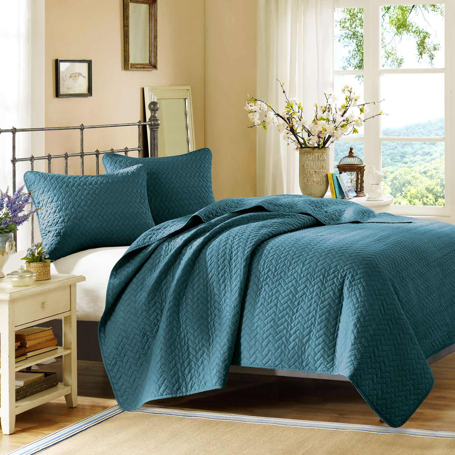 Accent and Occasional Furniture - Hampton Hill King Coverlet and Sham Set - Peacock