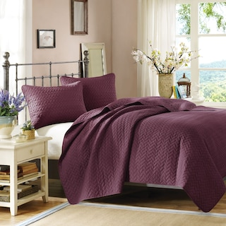 Hampton Hill Queen Coverlet and Sham Set - Mulberry