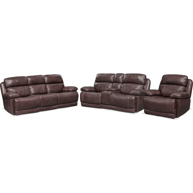 Living Room Furniture - Monte Carlo Dual Power Reclining Sofa, Reclining Loveseat and Recliner Set