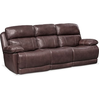 monte carlo dual power reclining sofa chocolate - Leather Living Room Furniture