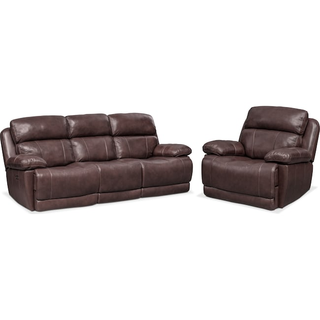 Living Room Furniture - Monte Carlo Dual Power Reclining Sofa and Recliner Set