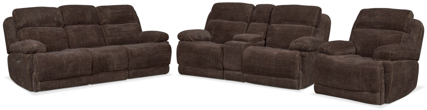 Monte Carlo Dual Power Reclining Sofa, Reclining Loveseat And Recliner Set    Brown