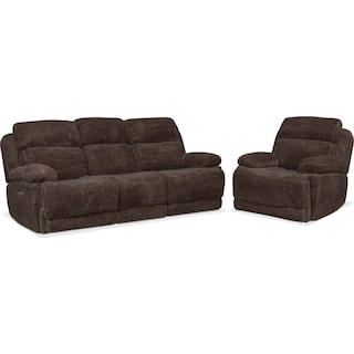 Monte Carlo Dual Power Reclining Sofa and Recliner Set - Brown