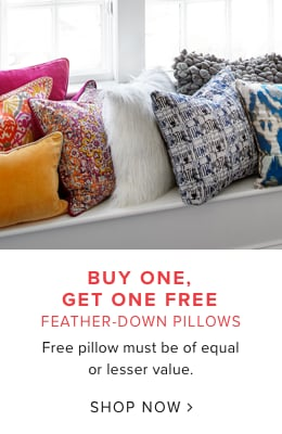 Buy One, Get One Free Feather Down Pillows. Free Pillow Must Be Of Equal