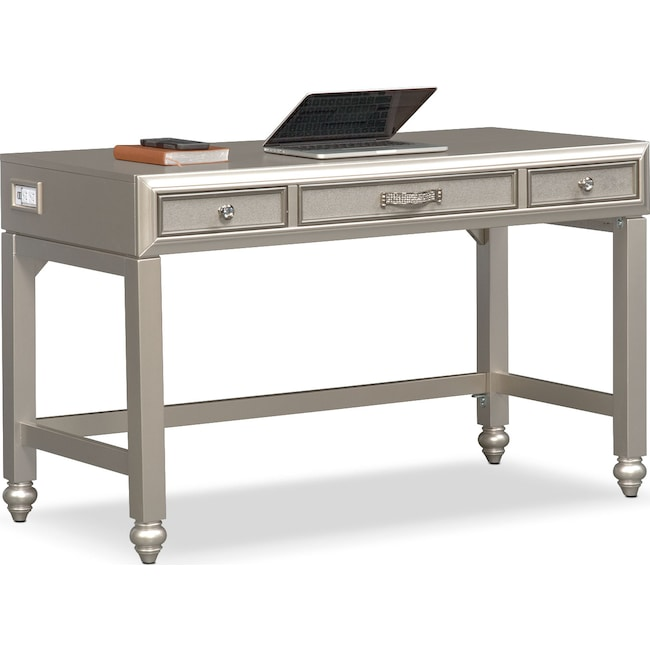Bedroom Furniture - Serena Vanity Desk - Platinum