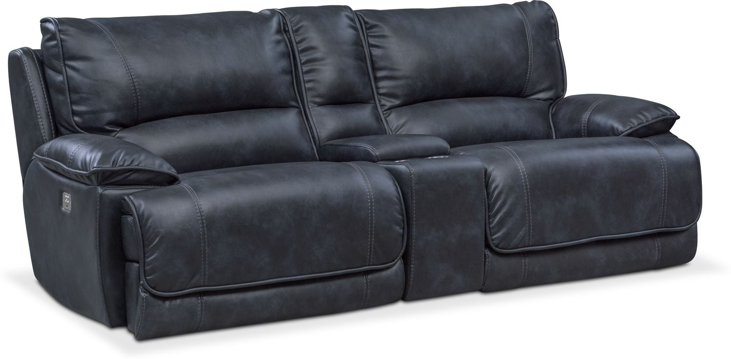 Delightful Living Room Furniture   Mario Dual Power Reclining Sofa With Console   Navy