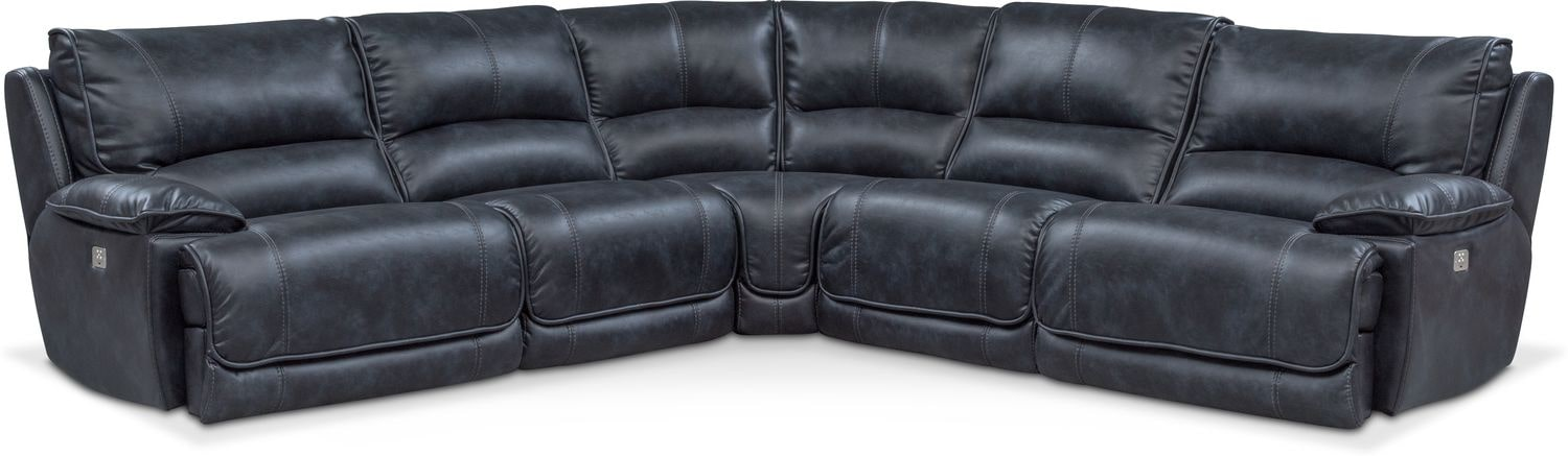 Living Room Furniture - Mario 5-Piece Dual-Power Reclining Sectional with 3 Reclining Seats