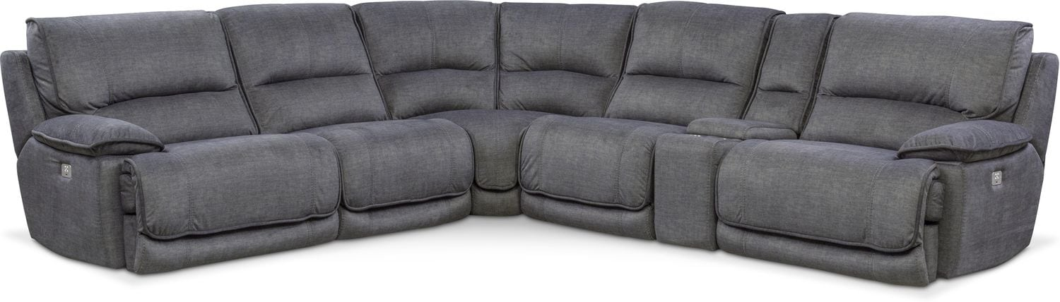 Living Room Furniture - Mario 6-Piece Dual-Power Reclining Sectional with 2 Reclining Seats