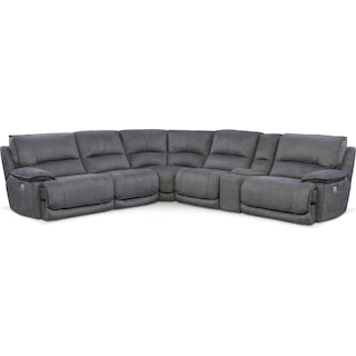Mario 6-Piece Dual-Power Reclining Sectional with 2 Reclining Seats
