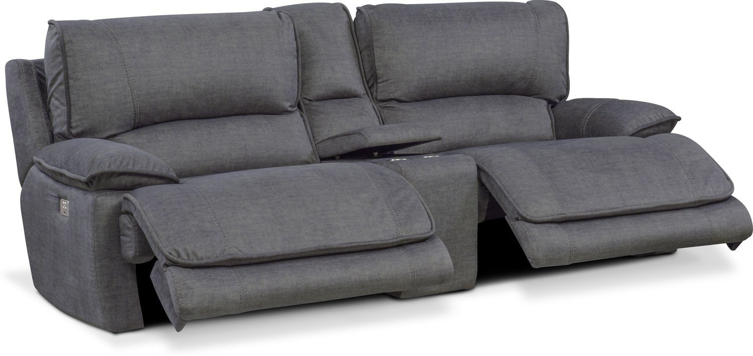 Mario Dual Power Reclining Sofa With Console Charcoal