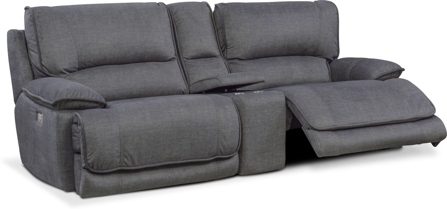 Mario Dual Power Reclining Sofa With Console Charcoal Value  ~ Sofa Recliner With Console