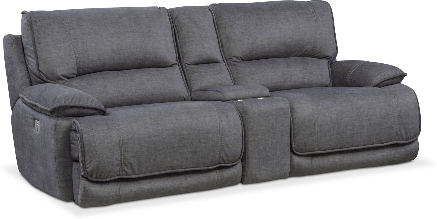 Living Room Furniture - Mario 3-Piece Power Reclining Sofa with Console