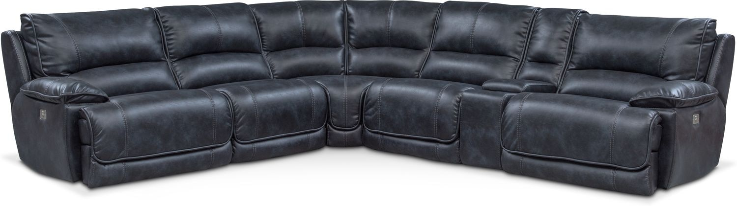 Mario 6-Piece Power Reclining Sectional with 3 Reclining Seats - Navy  sc 1 st  Value City Furniture & Sectional Sofas | Value City Furniture | Value City Furniture islam-shia.org