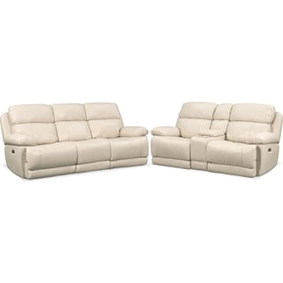 Monte Carlo Dual Power Reclining Sofa and Reclining Loveseat Set